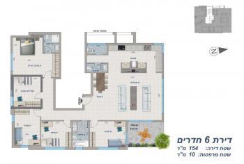 תוכנית דירת 6 חדרים